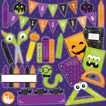 Halloween school supplies clipart commercial use, graphics, digital  - CL1189