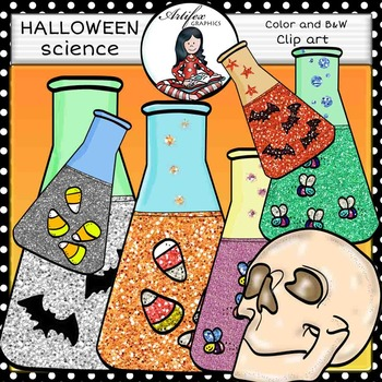 Halloween: science clip art-Color and B&W-