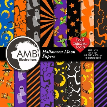 Digital Papers - Halloween scrapbook papers and backgrounds,  AMB-475