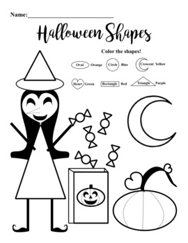 Halloween shapes coloring worksheet