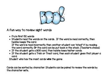 Halloween sight word game - BOO