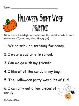 Halloween sight word practice
