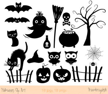 Halloween silhouettes clipart, Digital Halloween silhouette, Halloween clip art