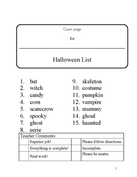 15 word Halloween word/work spelling packet by SpellingPackets.com - 46 pages