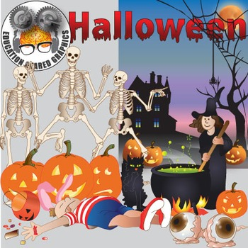 Halloween assorted clipart, background for classroom and commercial use.