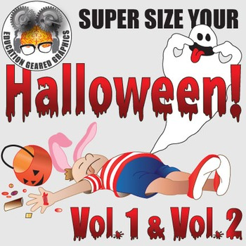 Halloween spooky creepy fun volumes 1 and 2 for classroom and commercial use.