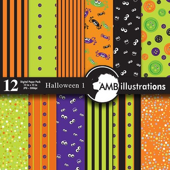 Digital Papers - Halloween digital papers and backgrounds, AMB-401