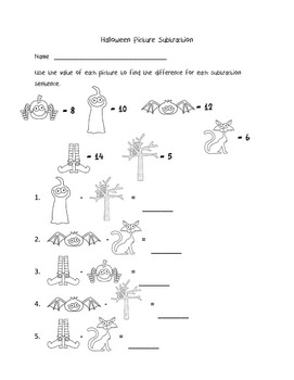 Halloween Activities first and second grade - subtraction