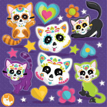 Halloween sugar skull cats clipart commercial use, vector graphics  - CL1113
