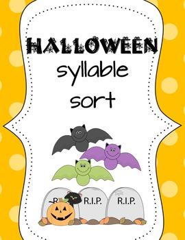 Halloween syllable sort/pocket chart