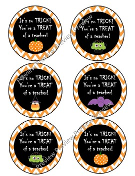 Halloween tags, gift tags, trick or treat, teacher gifts, Halloween labels