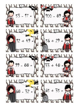 Halloween task cards - addition within 100 with regrouping