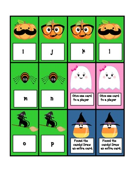 Halloween teacher table games for alphabet id, sight words and numbers to 50