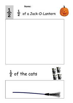 Halloween Theme Fractions for Juniors – half and quarter, Notes, 12 pgs