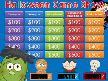 Halloween theme Jeopardy Style Game Show - 2nd-4th Gr