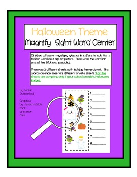 Halloween theme magnifying glass sight word literacy station