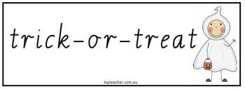 Halloween theme word cards