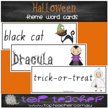 Halloween theme word cards