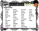 Halloween theme word list and adjectives- in English