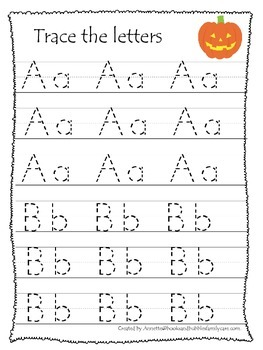 Halloween themed A-Z Tracing printable preschool worksheets.  13 pages.