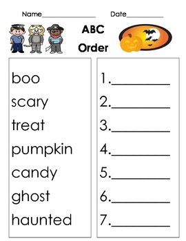 Halloween themed ABC order worksheet