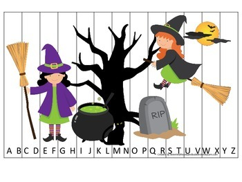 Halloween themed Alphabet Sequence Puzzle printable preschool learning game.