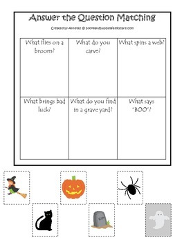 Halloween themed Answer the Question printable preschool learning game.