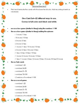 Halloween themed Base Ten Blocks Bang game, scoot game and task cards