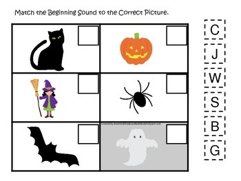 Halloween themed Beginning Sounds printable preschool learning game.