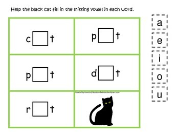 Halloween themed CVC #1 printable preschool learning game.  Preschool phonics.