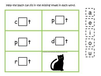 Halloween themed CVC #1 printable preschool learning game.