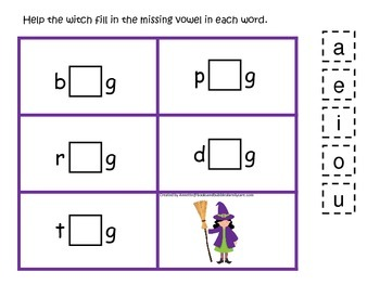 Halloween themed CVC #2 printable preschool learning game.