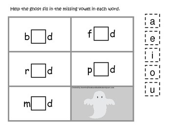 Halloween themed CVC #3 printable preschool learning game.  Preschool phonics.
