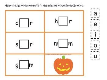 Halloween themed CVC #4 printable preschool learning game.  Preschool phonics.