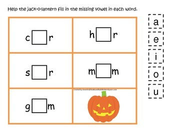 Halloween themed CVC #4 printable preschool learning game.