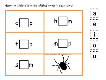 Halloween themed CVC #5 printable preschool learning game.  Preschool phonics.