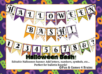Halloween themed EDITABLE bulletin board banner