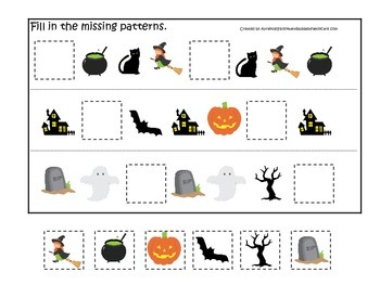 Halloween themed Fill in the Missing Pattern printable preschool children game.