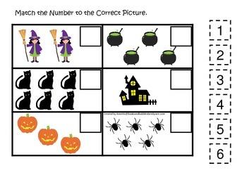 Halloween themed Match the Number printable preschool children game.