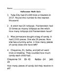 Halloween themed Math Worksheet Quiz for 4th GRade