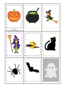 Halloween themed Memory Matching printable preschool learning game.