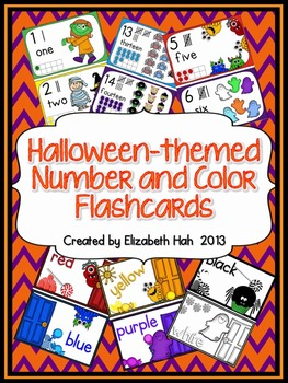 Halloween-themed Number & Color Flashcards