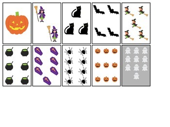 Halloween themed Number Matching Cards printable preschool learning game.