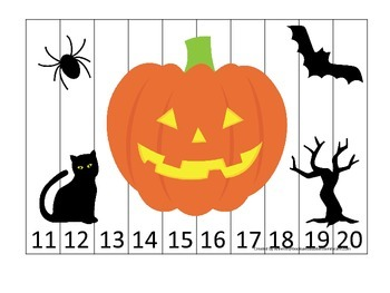 Halloween themed Number Sequence Puzzle 11-20 printable preschool learning game.