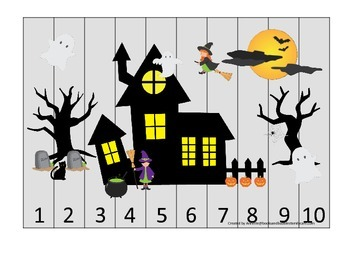 Halloween themed Number Sequence Puzzle printable preschool learning game.
