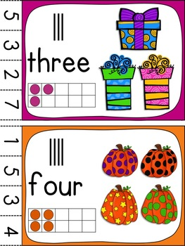 Halloween-themed Numbers + Colors Clothespin Cards