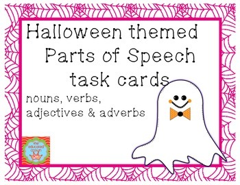 Halloween themed Parts of Speech Task Cards