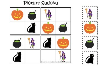 Halloween themed Picture Sudoku printable preschool learning game.