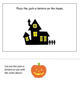 Halloween themed Positional Cards printable preschool learning game.