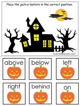 Halloween themed Positional Game.  Printable Preschool Curriculum Game